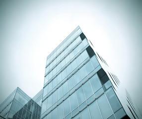modern glass skyscraper buildings in the morning