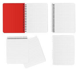 Spiral notebook and note paper. Vector.
