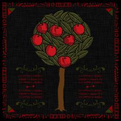 apple tree label woodcut