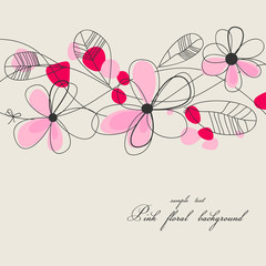 Tuinposter Abstract bloemen Pink floral background