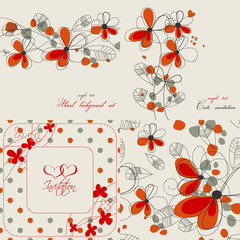 Set of cute floral backgrounds
