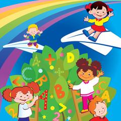 Happy childhood. Vector art-illustration.