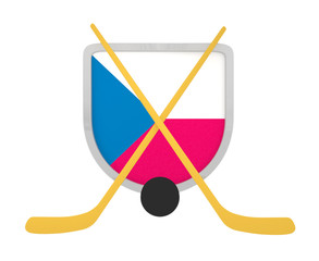 Czech shield ice hockey isolated