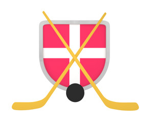 Denmark shield ice hockey isolated