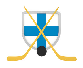 Finland shield ice hockey isolated