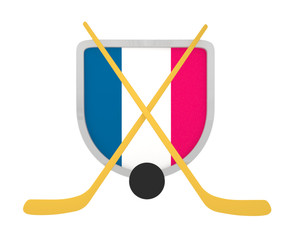 France shield ice hockey isolated