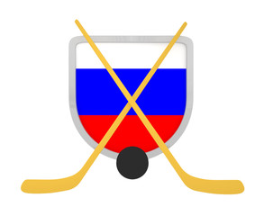 Russia shield ice hockey isolated