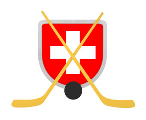 Switzerland shield ice hockey isolated