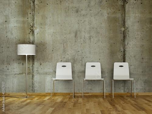 wei e st hle vor betonwand 2 stockfotos und lizenzfreie bilder auf bild 32157935. Black Bedroom Furniture Sets. Home Design Ideas