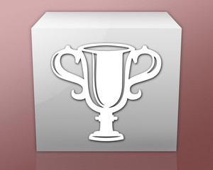"""Box-shaped Icon (red b/g) """"Award Cup"""""""