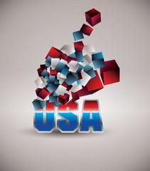 3d vector flying cubes. U.S. symbol