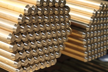 Brass rods pile