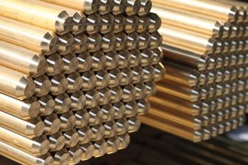 Brass rods pile
