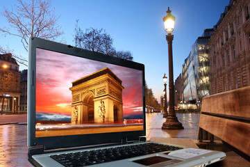 Paris in modern style, Champs Elysee  with notebook