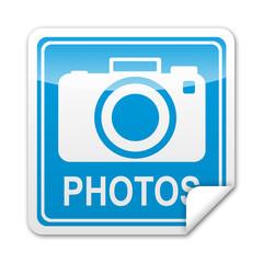 Pegatina cuadrada PHOTOS con reborde