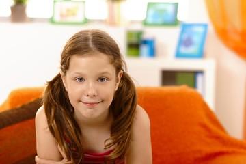 Happy elementary age girl