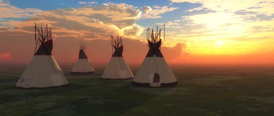 Printed kitchen splashbacks Indians Native American Teepees