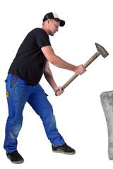 Bauarbeiter mit schweren Hammer 6
