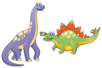 Couple of funny dinosaurs. Vector isolated characters.