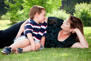 Spring portrait of mother and son on Mothers Day