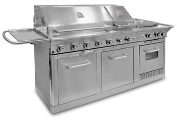 Big Barbecue gas grill in stainless steel, isolated