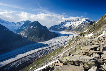 Mountain panorama of Aletsch glacier with Schoenenbuelhorn (3854