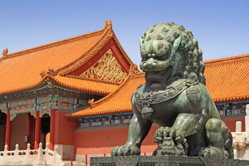 Fotorollo Beijing Wächterlöwe in der Verbotenen Stadt
