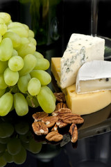 Grapes, nuts and cheese