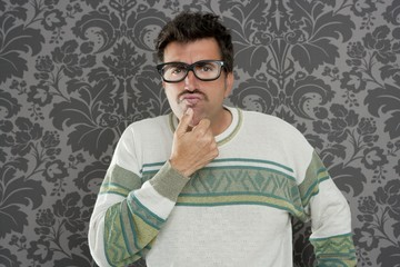 nerd pensive silly man retro wallpaper glasses tacky