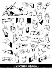 Set of vintage hands. Retro styled design elements.