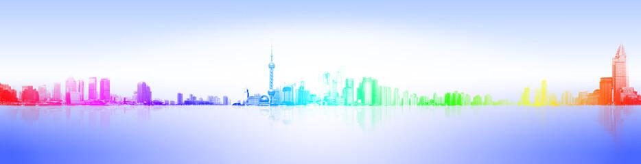中国上海外滩全景剪影图