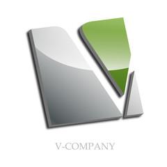 Logo initial letter V 3d # Vector
