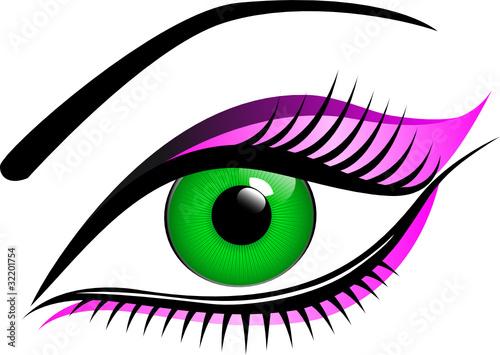 gr nes auge pink geschminkt stockfotos und lizenzfreie vektoren auf bild 32201754. Black Bedroom Furniture Sets. Home Design Ideas