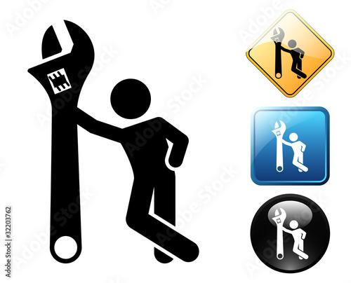 Set Of Flat Repair Tool Icons. Home Repair Tools Pictogram. Worker ...