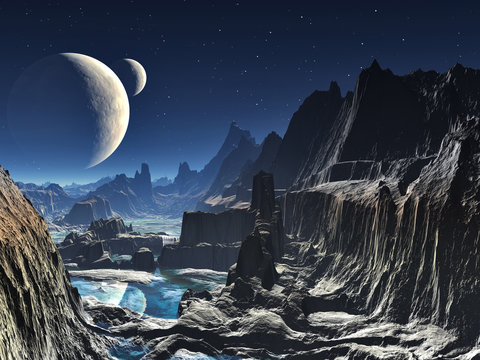 Moonlit Alien Valley Canyon