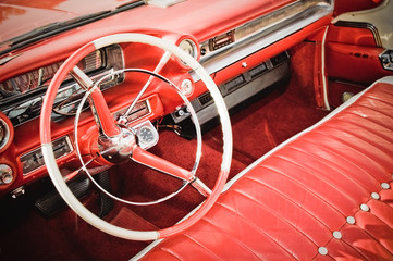 Aluminium Prints Old cars classic car interior with red leather upholstery