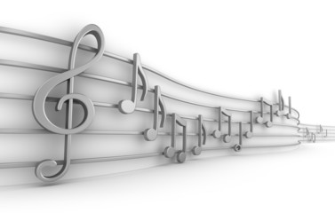 Set of nine musical notes isolated on white