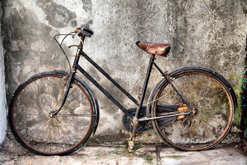 old bicycle side view