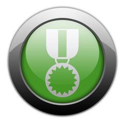 """Green Metallic Orb Button """"Award Medal"""""""