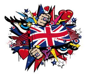 Printed roller blinds Art Studio Graffiti UK flag pop art illustration