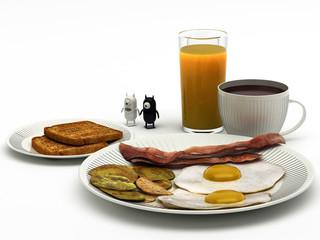 diavoli alieni a colazione rendering 3d
