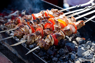 Aluminium Prints Grill / Barbecue Juicy slices of meat with sauce prepare on fire (shish kebab).