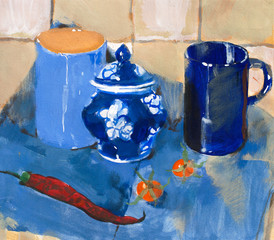 Painting. Still life with blue cups and pepper