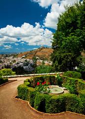 Garden of Alhambra in Granada, Spain.