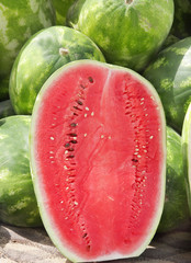 Closeview of one half of watermelon