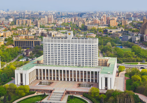 White House, center of Russian government in Moscow, Russia