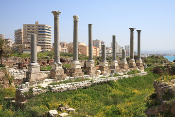 Ancient Roman and Modern city of Tyre, Lebanon