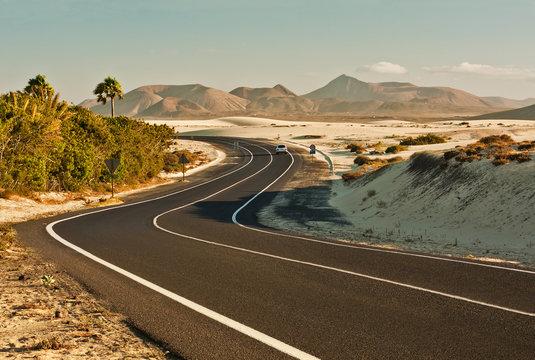 Winding Road in Desert, Corralejo, Spain