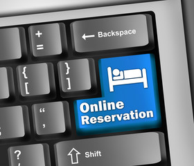 "Keyboard Illustration ""Online Reservation"""