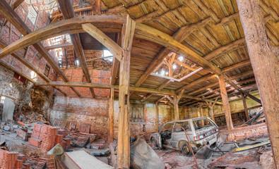Interior Panorama of barn wreck